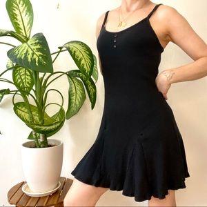 Vintage black ribbed mini dress, 90s size Med